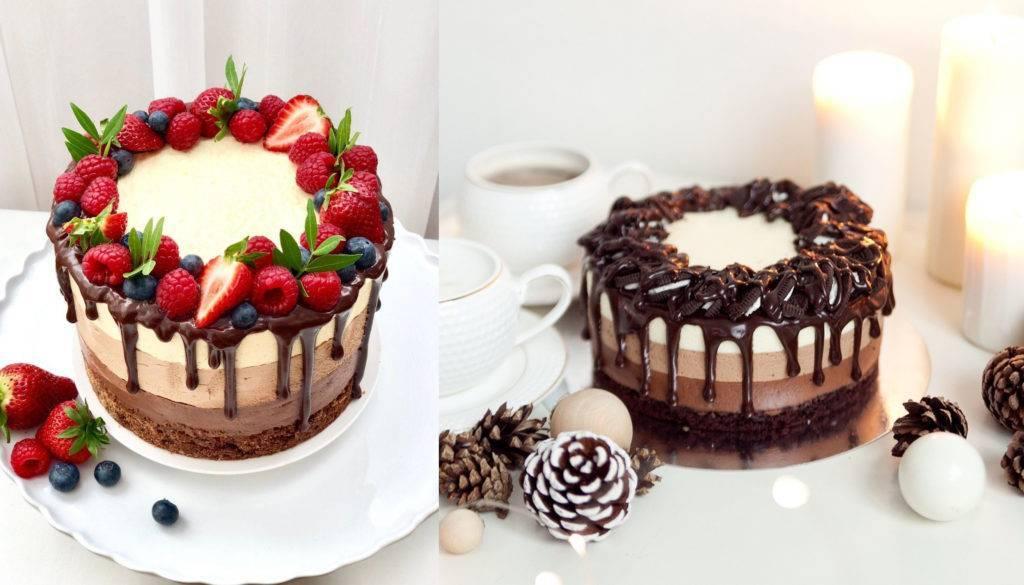 варианты украшения торта три шоколада