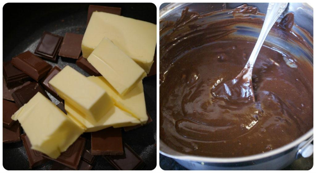 Шоколадный торт с белыми подтеками