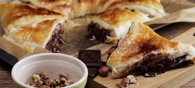Слоеные рогалики с шоколадом - рецепт пошаговый с фото