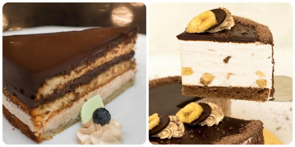 шоколадно-банановый торт-суфле