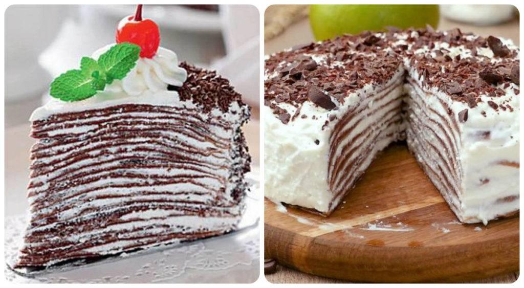 шоколадный блинный торт со сметанным кремом