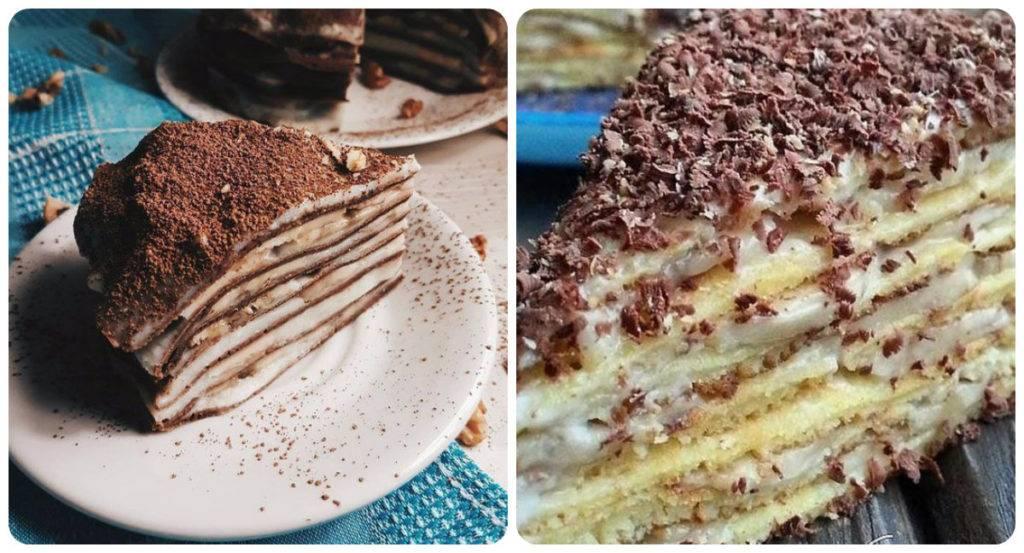 шоколадный блинный торт с бананов