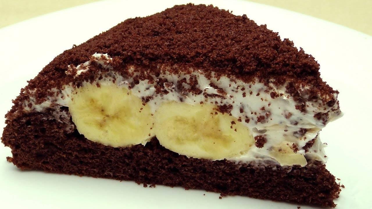 Праздничный торт с бананом, шоколадом и сгущенкой - рецепт пошаговый с фото
