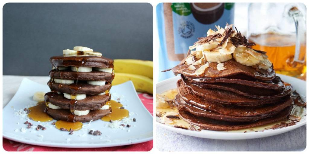шоколадные панкейки с бананом
