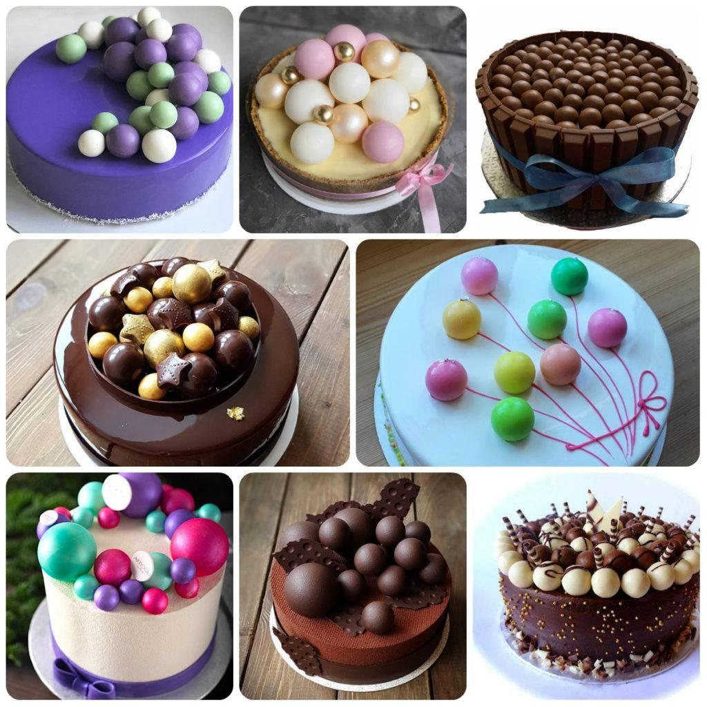 торт украшенный шоколадными шарами