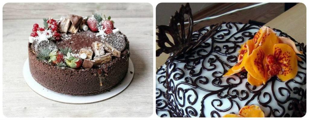 комбинация украшений на новогоднем торте