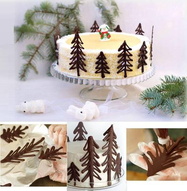 шоколадные елочки на торт