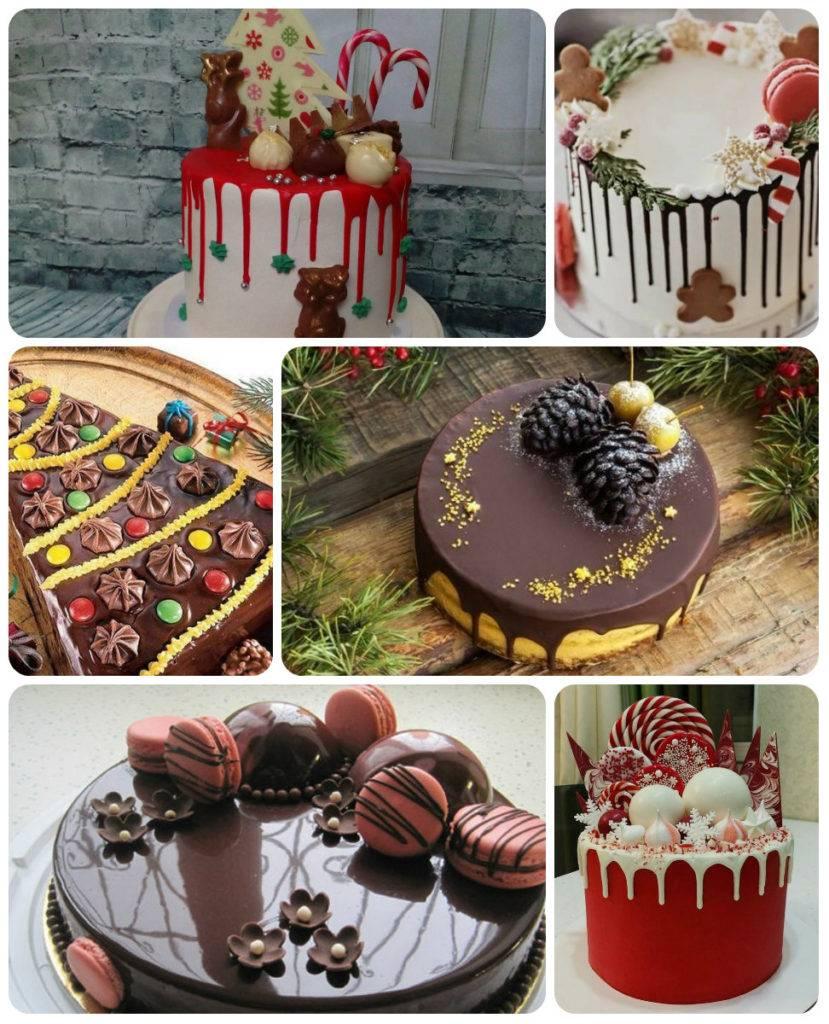 шоколадные подтеки на новогоднем торте