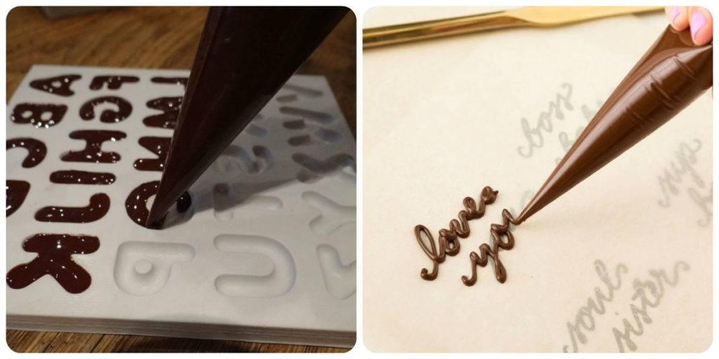 шоколадные буквы с помощью кондитерского шприца