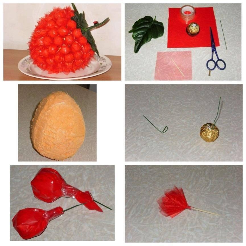 оформление конфет в букет