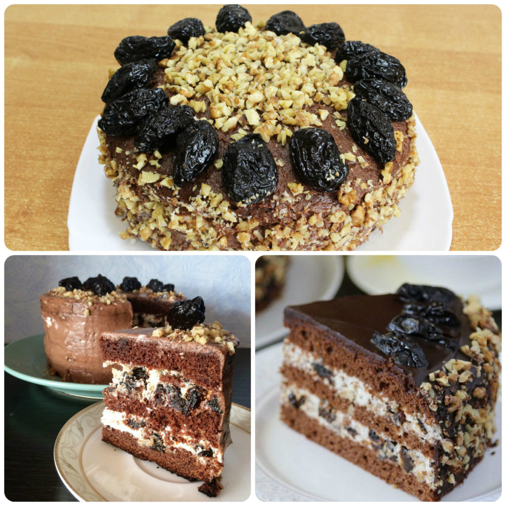 шоколадно-ореховый торт с черносливом рецепт