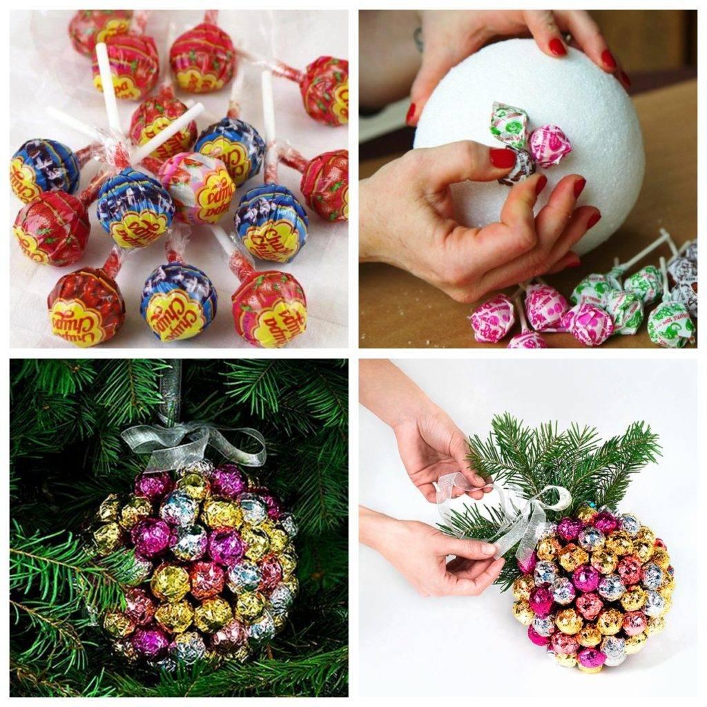 новогодний шар из чупа-чупсов своими руками