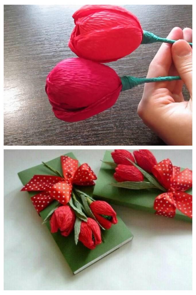 украсить шоколадку тюльпаном